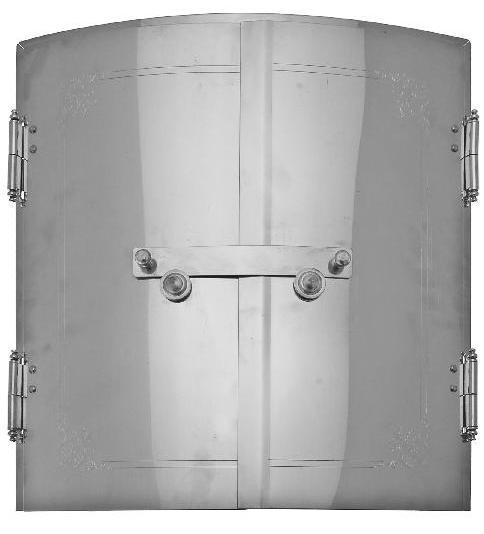 Curved Stove Doors (diameter  70 cm) - Nickel-plated doors - 714-001-4 - 1