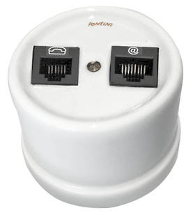 Telephone and ethernet socket - Electrical accessories, white - 517-003-5