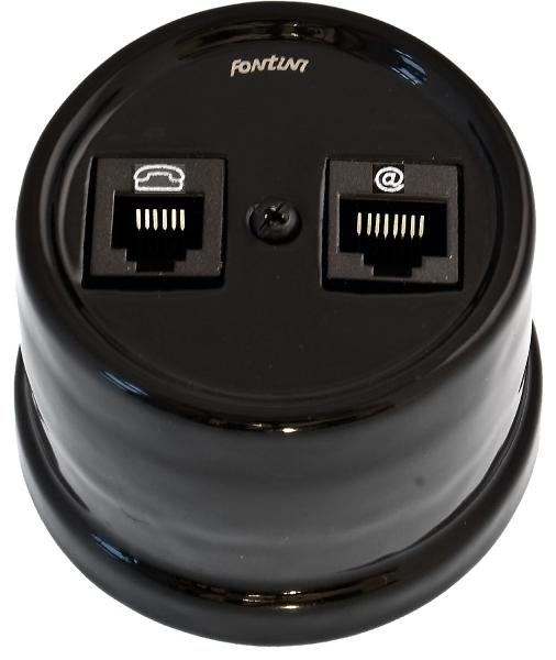 Telephone and ethernet socket - Electrical accessories, black - 517-004-5 - 1