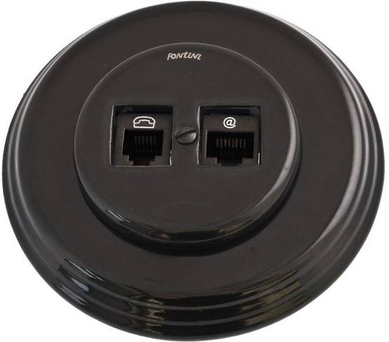 Telephone and ethernet socket - Electrical accessories, black - 517-027-5 - 1
