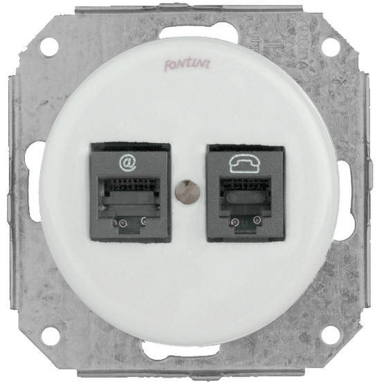 Telephone and ethernet socket, without faceplate - Electrical accessories, white - 517-041-5 - 1