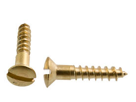 Round Head Screw, brass - Slot screws, mushroom head - 890-001-7